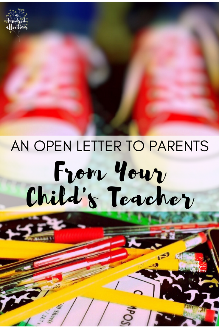 an open letter to parents from your child's teacher