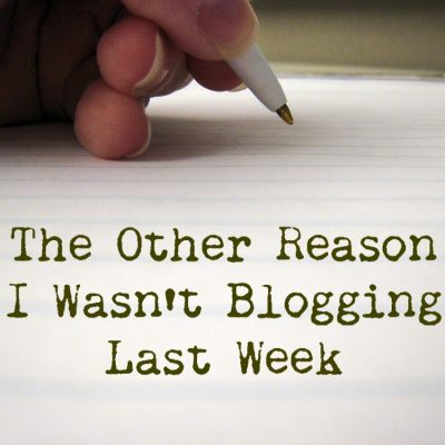 The Other Reason I Wasn't Blogging Last Week