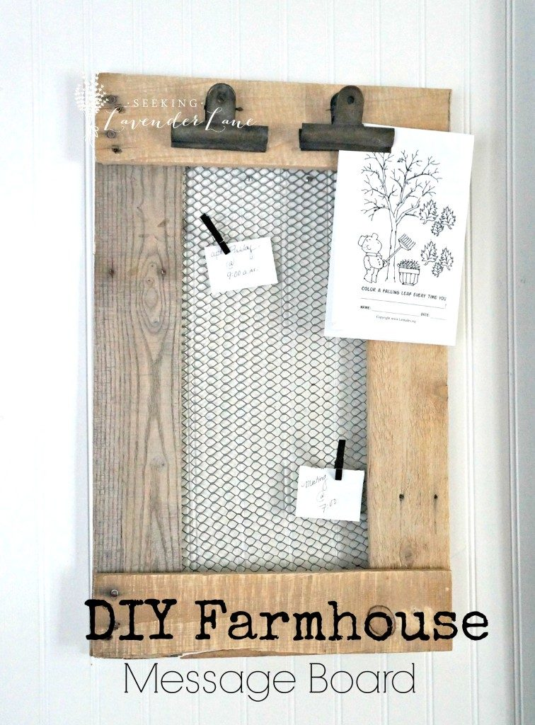 Rustic farmhouse DIY message board with chicken wire and clips, a perfect DIY rustic farmhouse home decor project when you're on a tight budget
