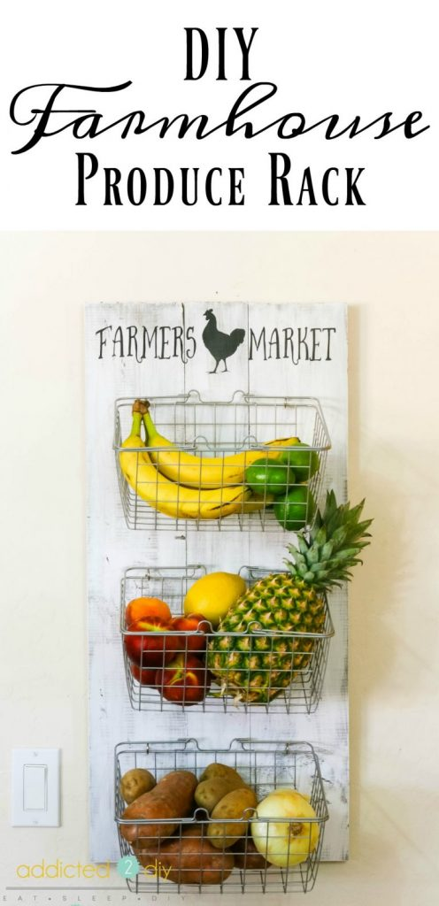 DIY farmhouse produce rack with wire baskets filled with fruit and vegetables, on distressed wooden plank background, a perfect DIY rustic farmhouse home decor project when you're on a tight budget