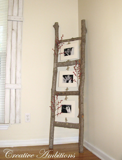 DIY rustic photo ladder made from branches, a perfect DIY rustic farmhouse home decor project when you're on a tight budget
