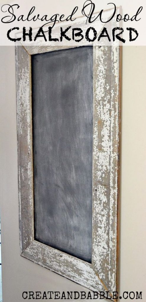 DIY repurposed wood chalkboard with distressed white paint, a perfect DIY rustic farmhouse home decor project when you're on a tight budget