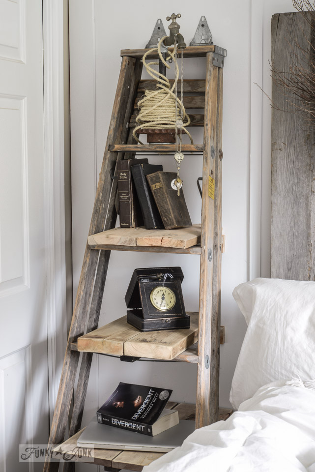 DIY step ladder turned shelf, staged with books and antique decor, a perfect DIY rustic farmhouse home decor project when you're on a tight budget