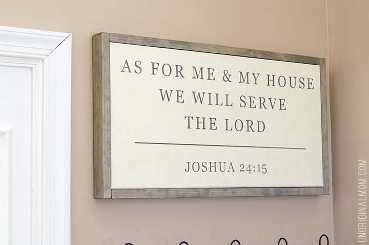 Joshua 24:15 As for me and my house we will serve the lord, DIY canvas print, a perfect DIY rustic farmhouse home decor project when you're on a tight budget