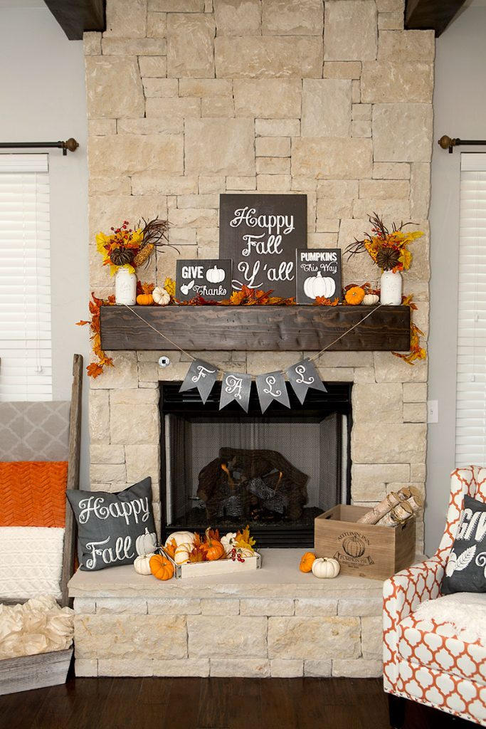 chalkboard colorufl fall mantel - If you need some inspiration for decorating your home for fall, we've got you covered!  Inside you'll find beautiful ideas for decorating your mantel and fireplace area, your outdoor front porch, and your kitchen and dining area.