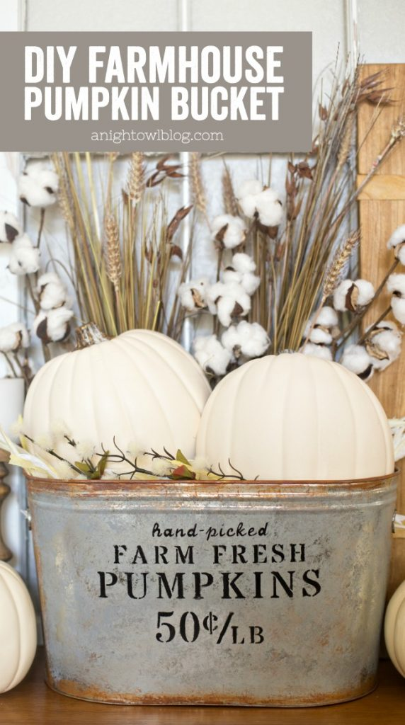 Pumpkin bucket - Decorating your home for autumn doesn't have to break your bank. Here are 25 of the prettiest DIY Fall Decor Projects that you can create yourself for a fraction of the cost.  These are my favorite picks for the best rustic farmhouse decor for fall!