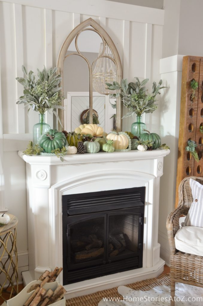 pastel fall mantel - If you need some inspiration for decorating your home for fall, we've got you covered!  Inside you'll find beautiful ideas for decorating your mantel and fireplace area, your outdoor front porch, and your kitchen and dining area.