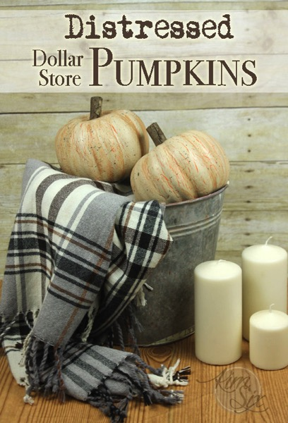 Dollar Store distressed pumpkins - Decorating your home for autumn doesn't have to break your bank. Here are 25 of the prettiest DIY Fall Decor Projects that you can create yourself for a fraction of the cost.  These are my favorite picks for the best rustic farmhouse decor for fall!