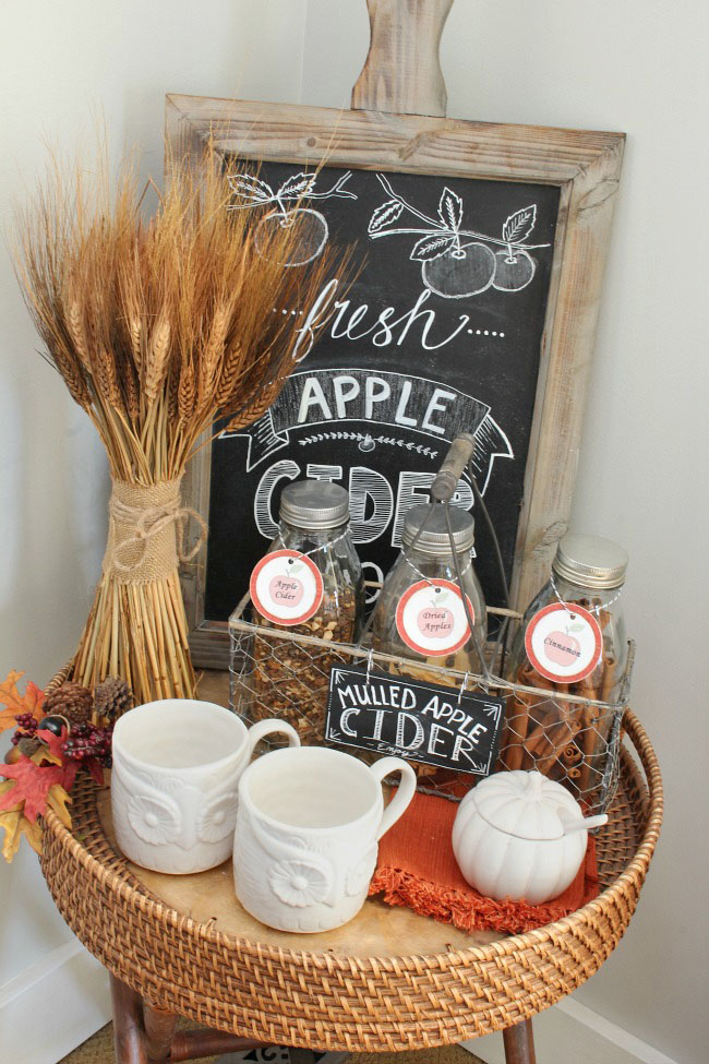 fall apple cider bar - If you need some inspiration for decorating your home for fall, we've got you covered!  Inside you'll find beautiful ideas for decorating your mantel and fireplace area, your outdoor front porch, and your kitchen and dining area.