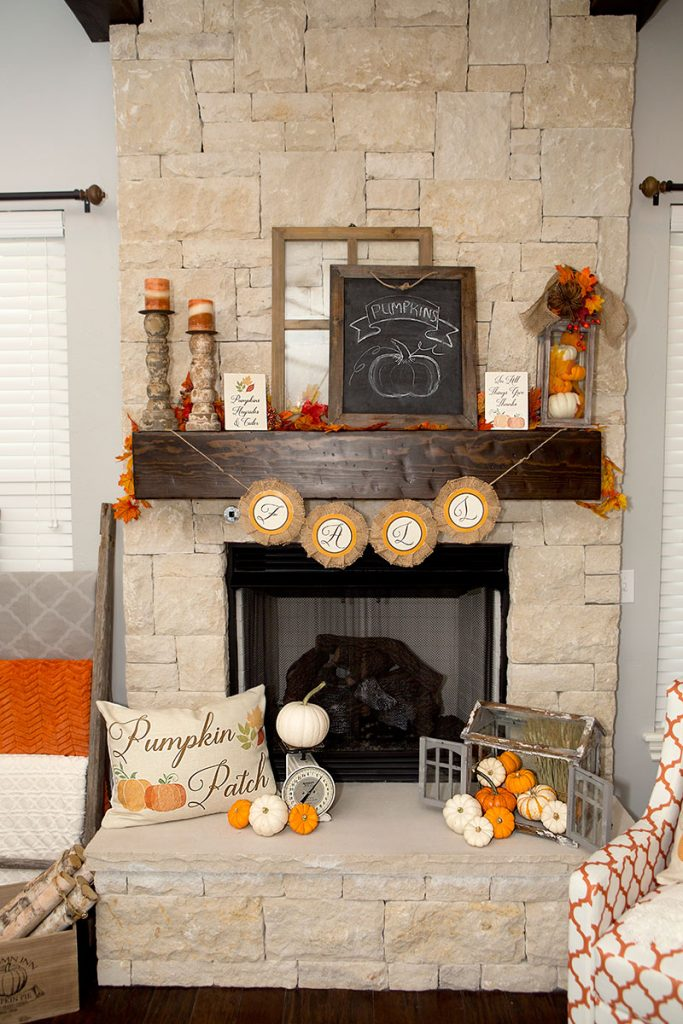 Rustic farmouse mantel - If you need some inspiration for decorating your home for fall, we've got you covered!  Inside you'll find beautiful ideas for decorating your mantel and fireplace area, your outdoor front porch, and your kitchen and dining area.