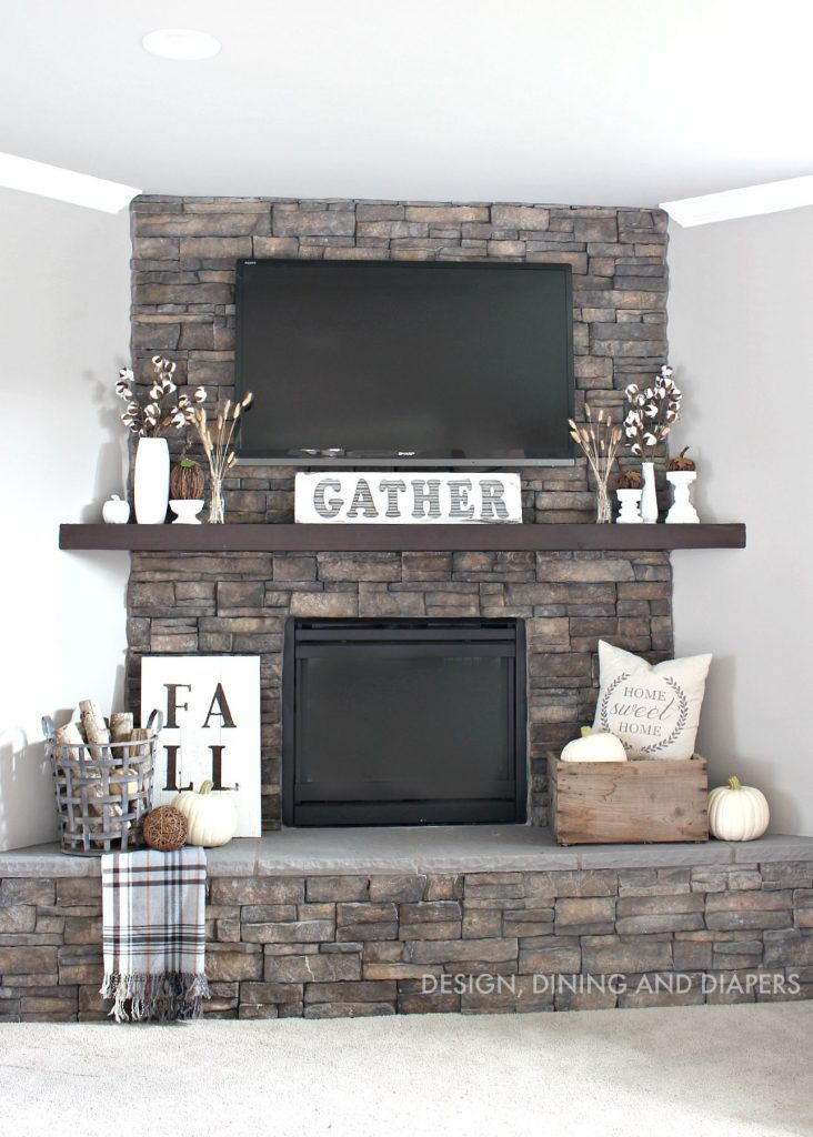 neutral rustic fall mantel