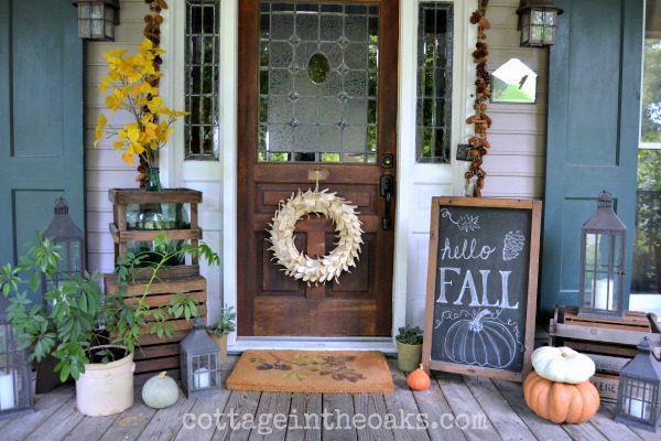Rustick fall porch - If you need some inspiration for decorating your home for fall, we've got you covered!  Inside you'll find beautiful ideas for decorating your mantel and fireplace area, your outdoor front porch, and your kitchen and dining area.