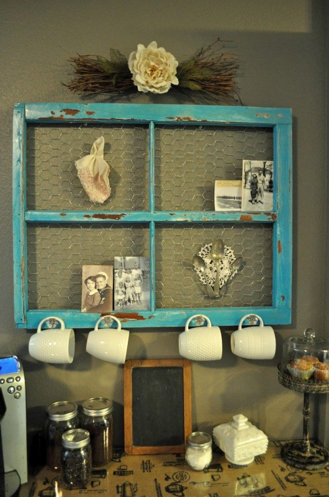 Old window repurposed with chicken wire and hooks to hang coffee cups, as a coffee bar organizer, idea for decorating with vintage windows