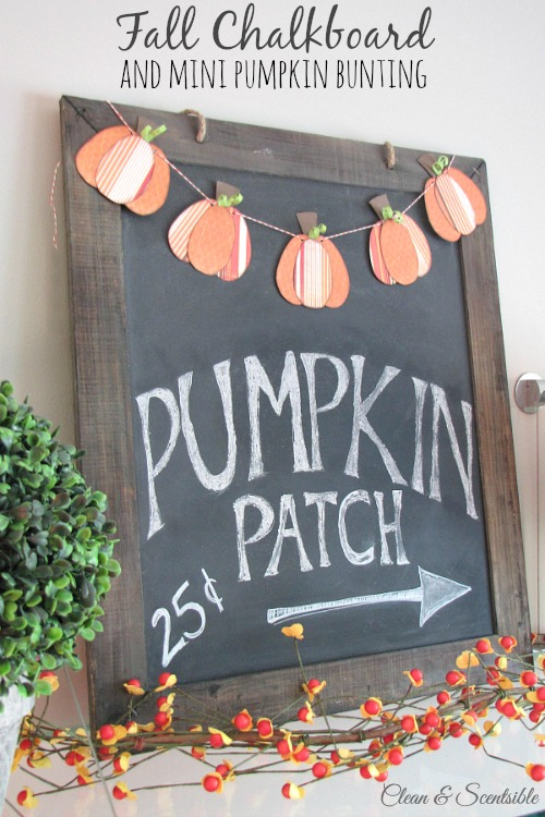 Fall chalkboard pumpkin bunting - Decorating your home for autumn doesn't have to break your bank. Here are 25 of the prettiest DIY Fall Decor Projects that you can create yourself for a fraction of the cost.  These are my favorite picks for the best rustic farmhouse decor for fall!