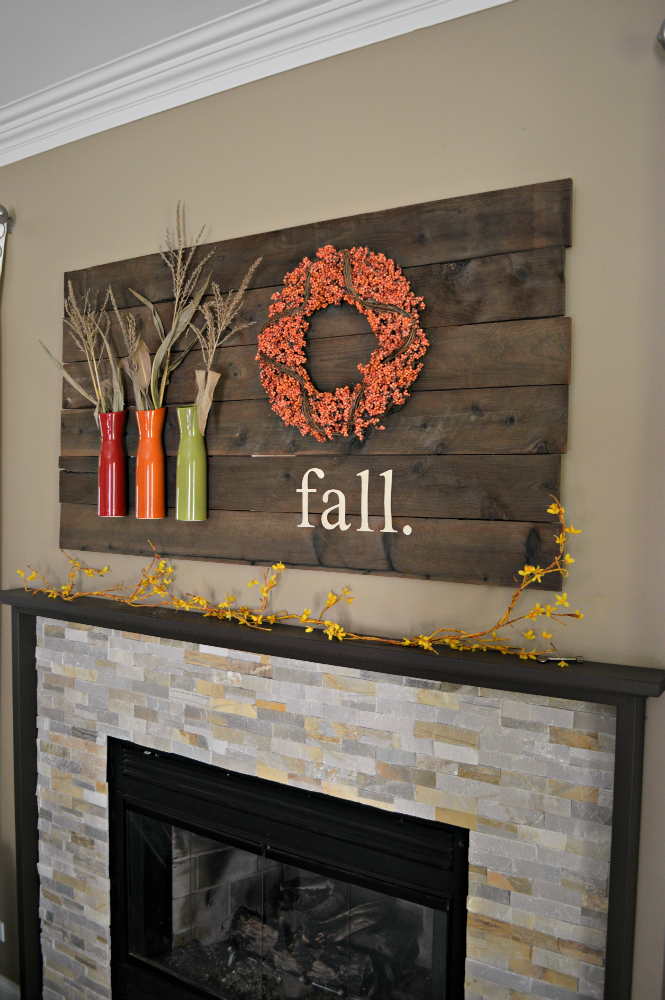 Fall mantel sign - Decorating your home for autumn doesn't have to break your bank. Here are 25 of the prettiest DIY Fall Decor Projects that you can create yourself for a fraction of the cost.  These are my favorite picks for the best rustic farmhouse decor for fall!