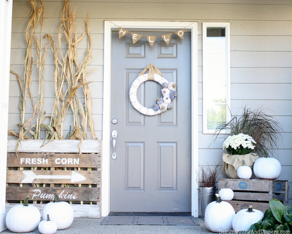 fall porch rustic farmhouse - If you need some inspiration for decorating your home for fall, we've got you covered!  Inside you'll find beautiful ideas for decorating your mantel and fireplace area, your outdoor front porch, and your kitchen and dining area.