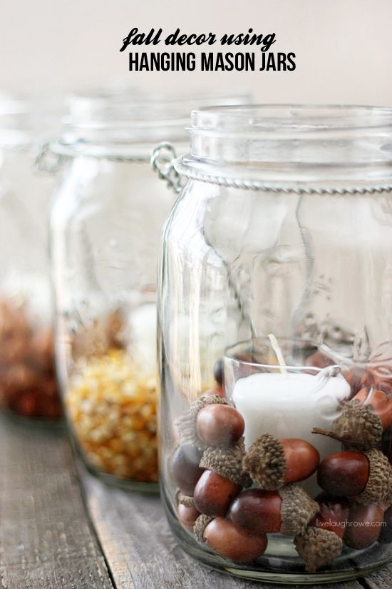 Fall mason jars - Decorating your home for autumn doesn't have to break your bank. Here are 25 of the prettiest DIY Fall Decor Projects that you can create yourself for a fraction of the cost.  These are my favorite picks for the best rustic farmhouse decor for fall!