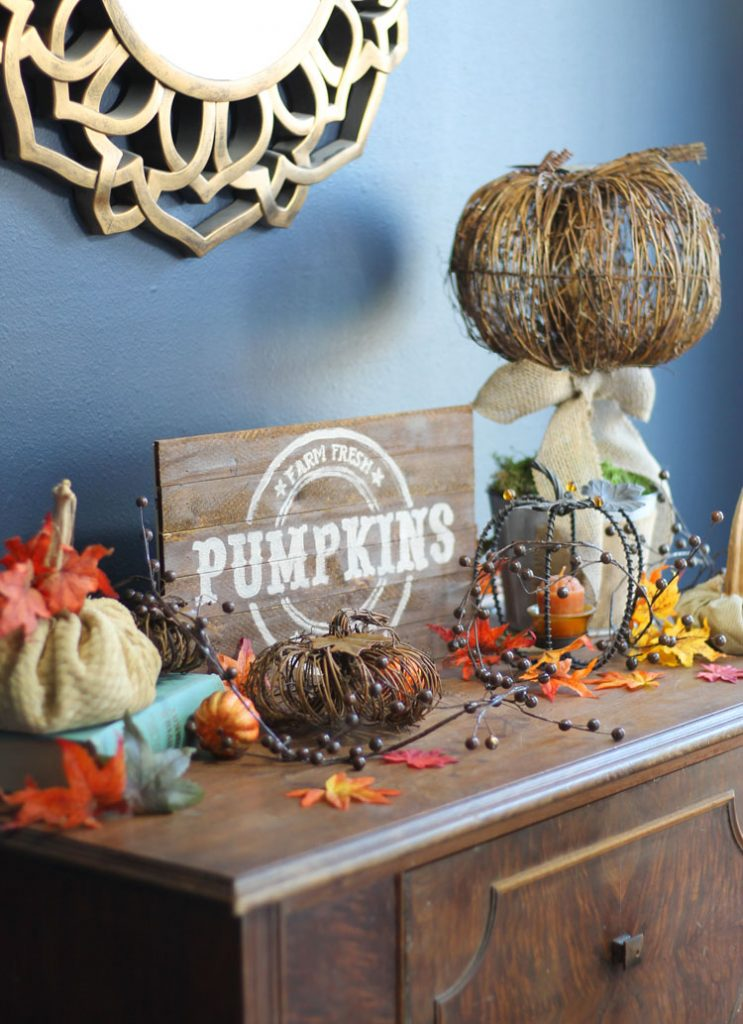 Pumpkin Vintage sign - Decorating your home for autumn doesn't have to break your bank. Here are 25 of the prettiest DIY Fall Decor Projects that you can create yourself for a fraction of the cost.  These are my favorite picks for the best rustic farmhouse decor for fall!