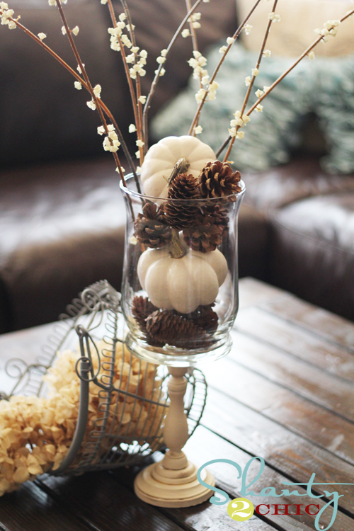 pine cone centerpiece- If you need some inspiration for decorating your home for fall, we've got you covered!  Inside you'll find beautiful ideas for decorating your mantel and fireplace area, your outdoor front porch, and your kitchen and dining area.