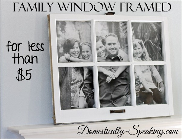 Old window repurposed as a frame for family photo in the background, idea for decorating with vintage windows