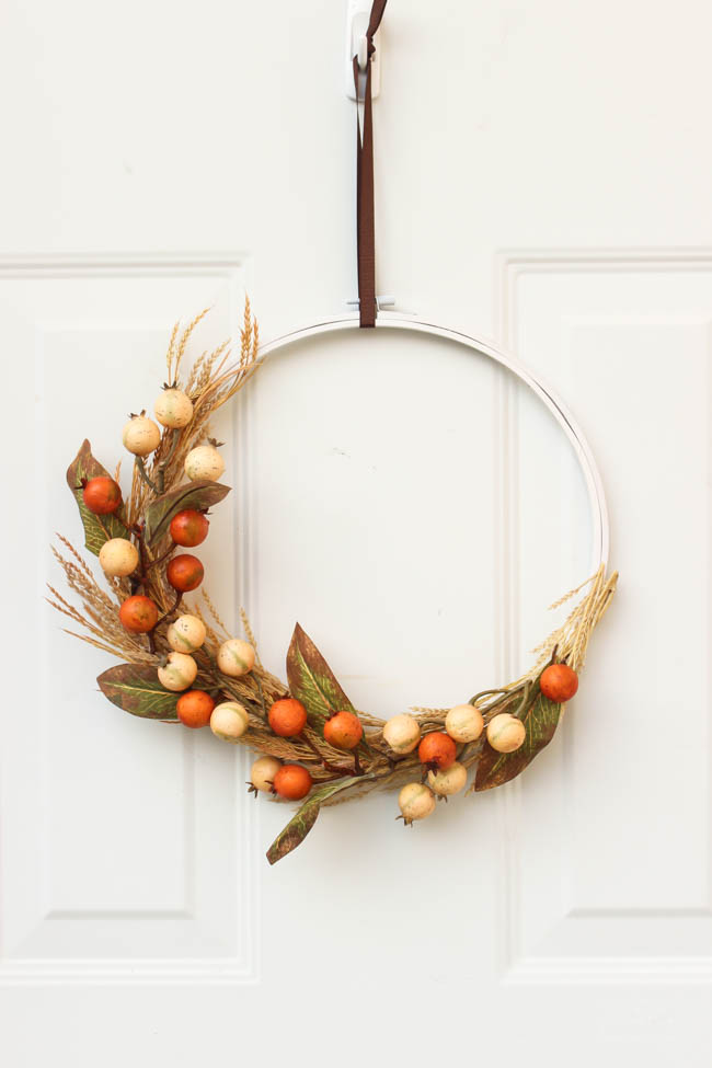 DIY fall wreath, embroidery hoop with wheat, leaves, orange and cream berries