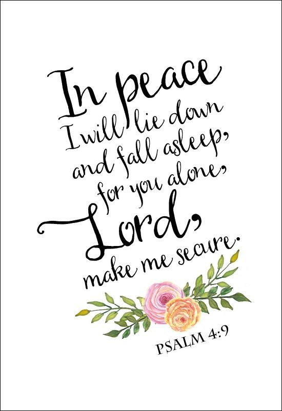 Psalm 4:9 wall art with flowers, I will lie down in peace