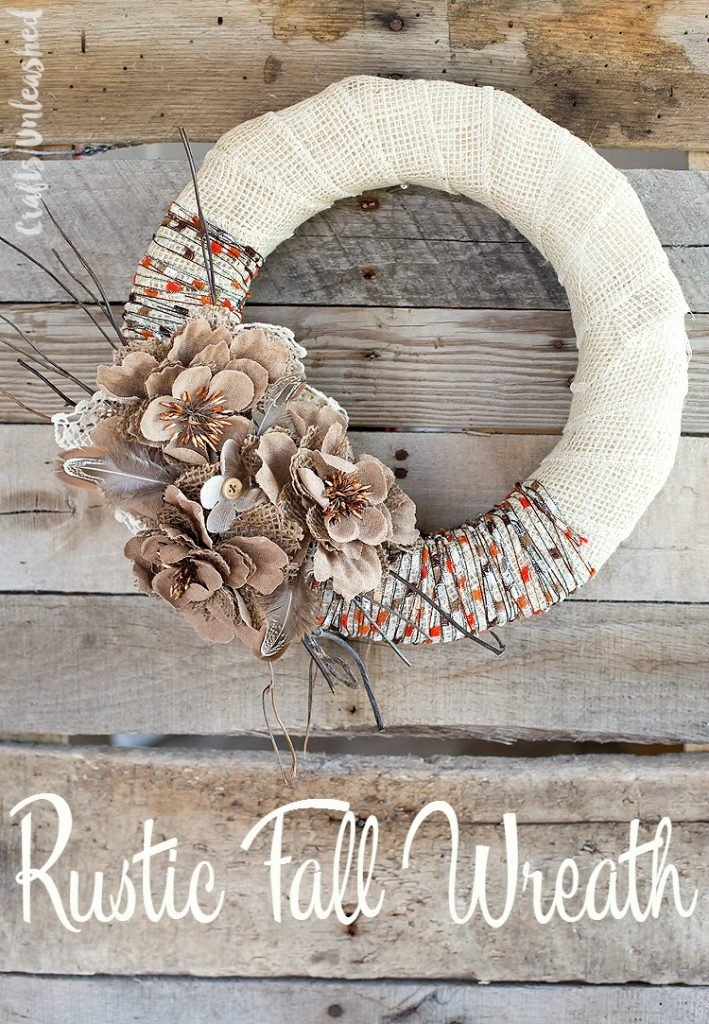 Cream burlap ribbon DIY fall wreath with beige and brown faux flowers