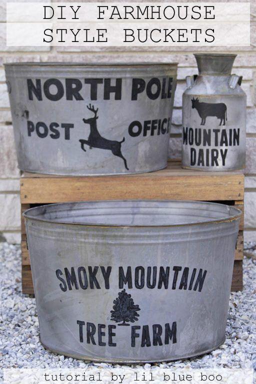 Galvanized Christmas buckets DIY farmhouse Christmas project