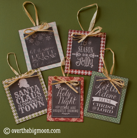 DIY free printable chalkboard Christmas ornament with patterned cardstock and rafia