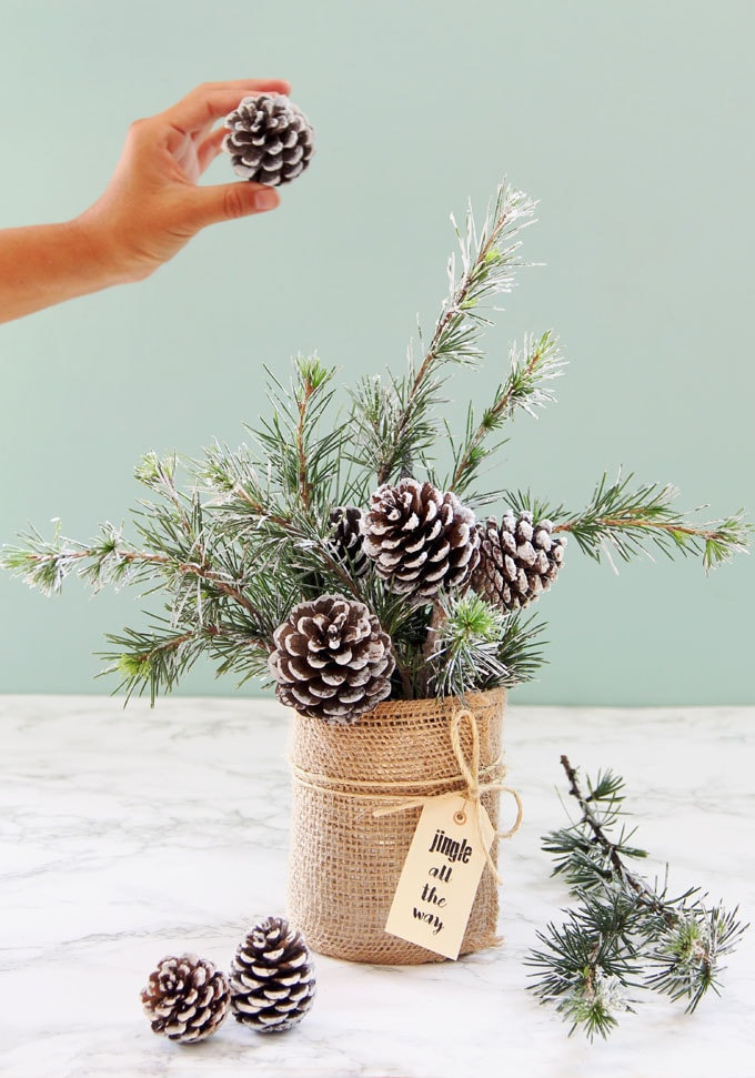 DIY farmhouse Christmas centerpiece of burlap covered can with pine cones and greens, jute string and 'jingle all the way' tag