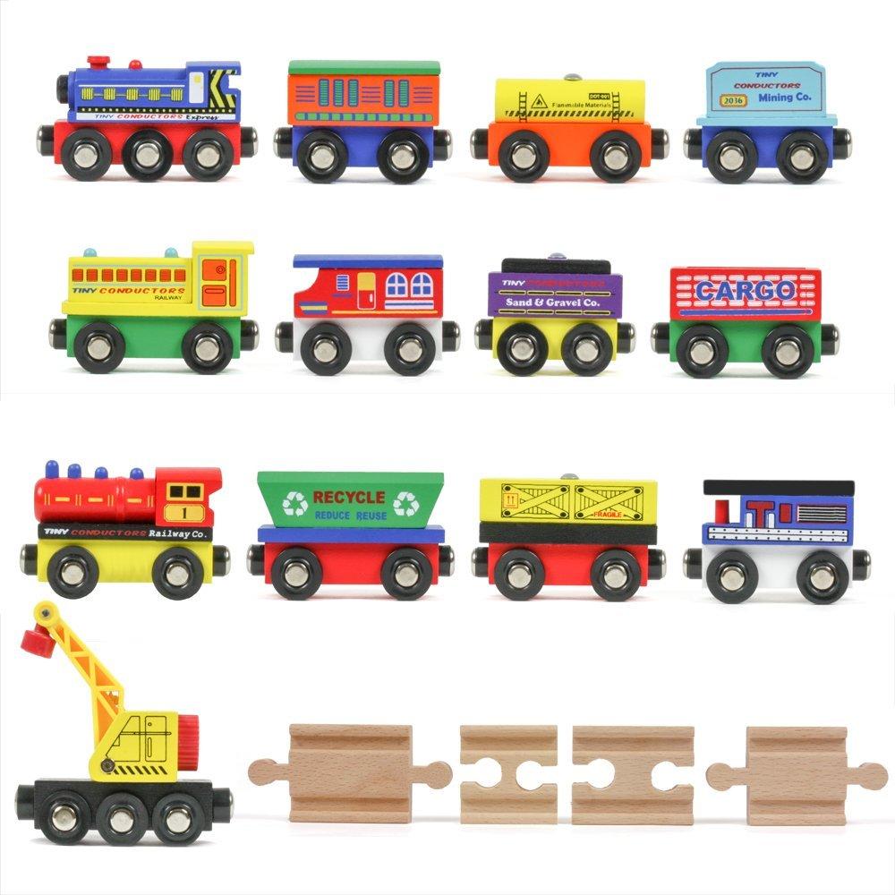 12 Wooden Train Cars Plus Bonus Crane - the perfect gift for little boys ages 2-4