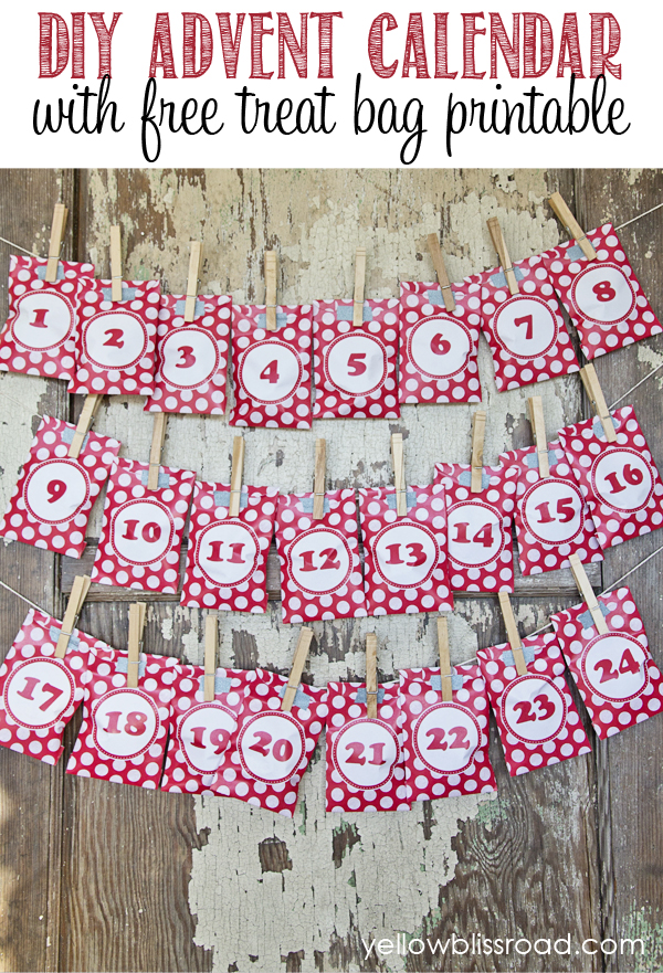 DIY Christmas advent calendar with red polka printed bags with numbers hanging on string with clothes pins