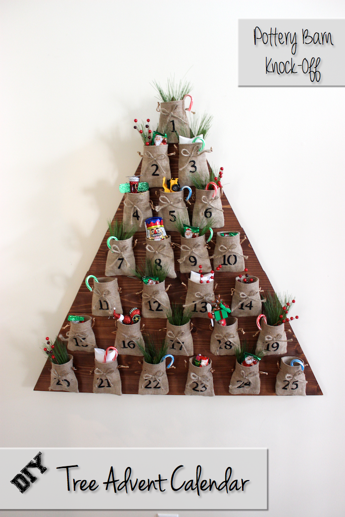 DIY Christmas Advent Calendar, Pottery Barn Knockoff, wood shaped in triangle Christmas tree with mini burlap numbered sacks with candy canes and decorations coming out of the top
