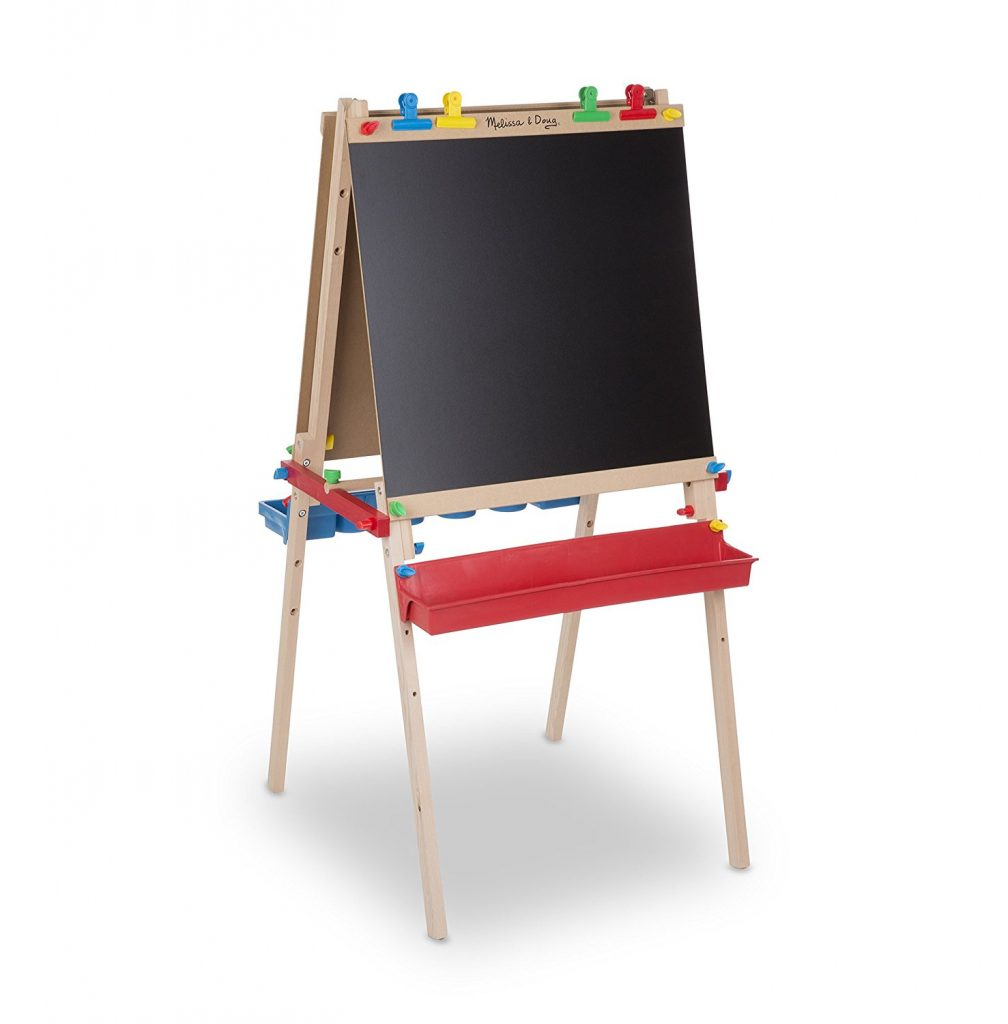 Melissa and Doug Deluxe Standing Art Easel (Chalkboard and Dry Erase) - the perfect gift for little boys ages 2-4