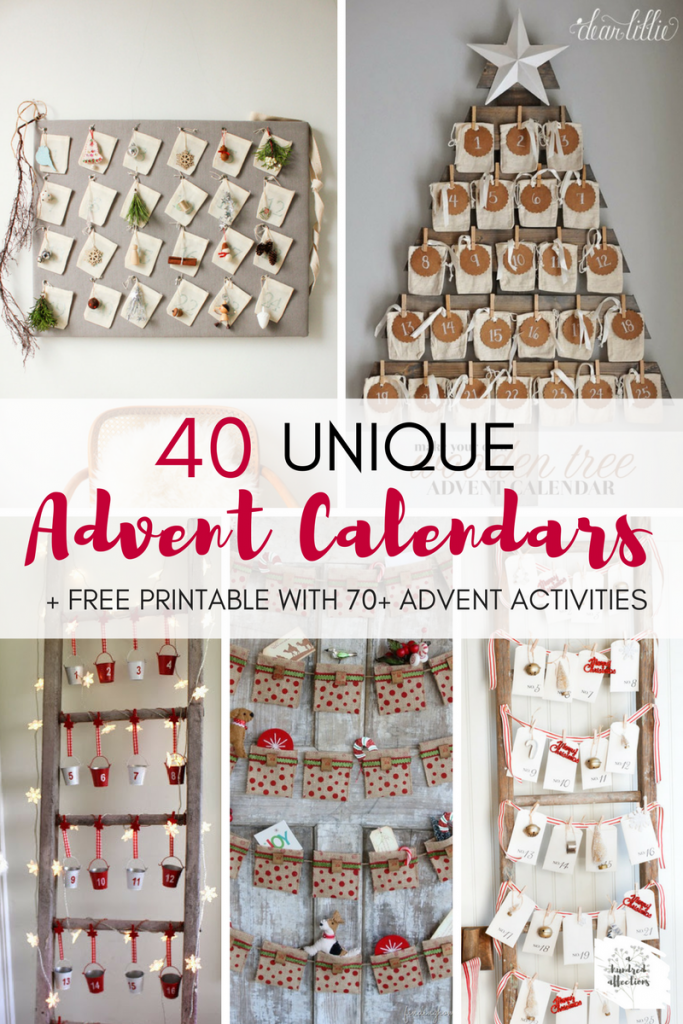 Nothing builds the excitement to Christmas like an Advent Calendar! Here are 40 gorgeous, unique options to maximize the meaning & enjoyment of the season!