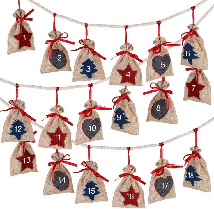Primitive Rustic Farmhouse Hanging Burlap Christmas Advent Calendar with on string with simple Christmas shapes and numbers