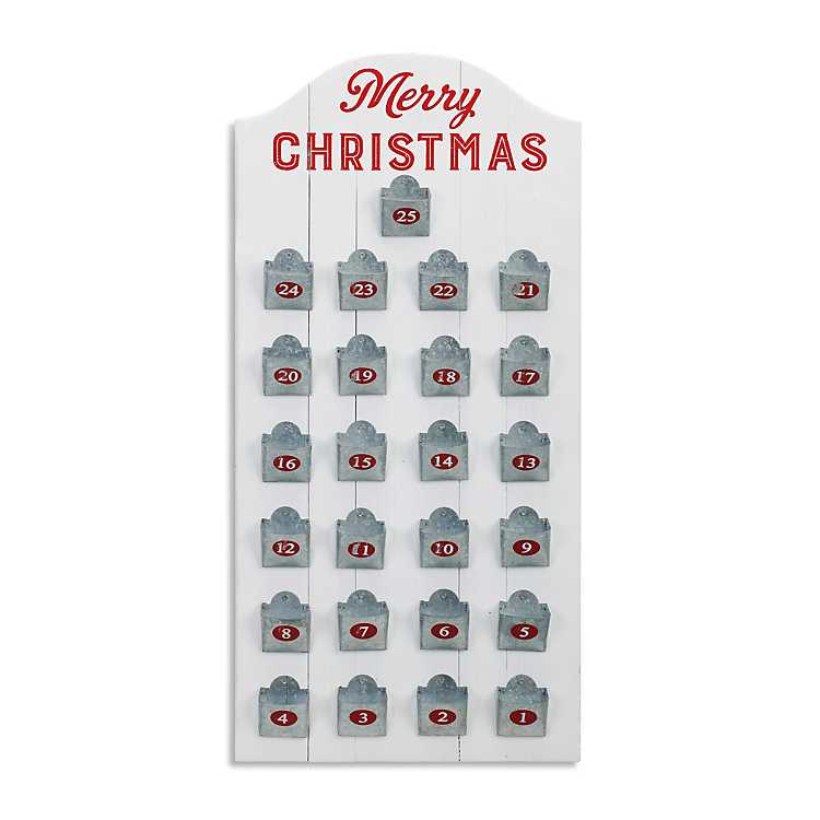White wooden Merry Christmas Advent Calendar with metal numbered pockets