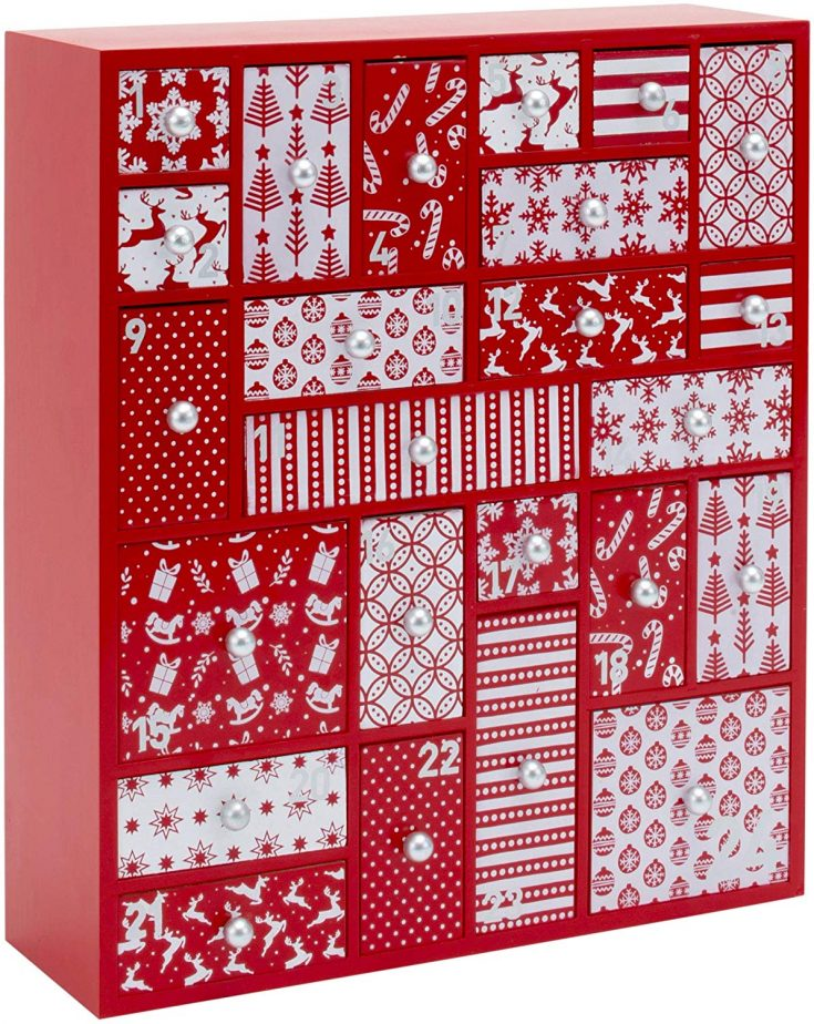 Red and White Nordic Designed Wood Advent Calendar with Drawers from Amazon