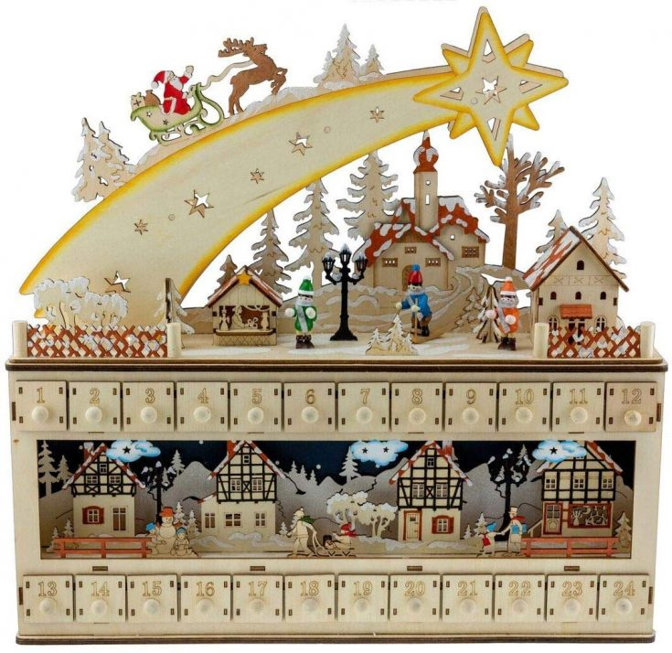 Shooting star over snowy village Christmas Advent Calendar with numbered window boxes from Amazon