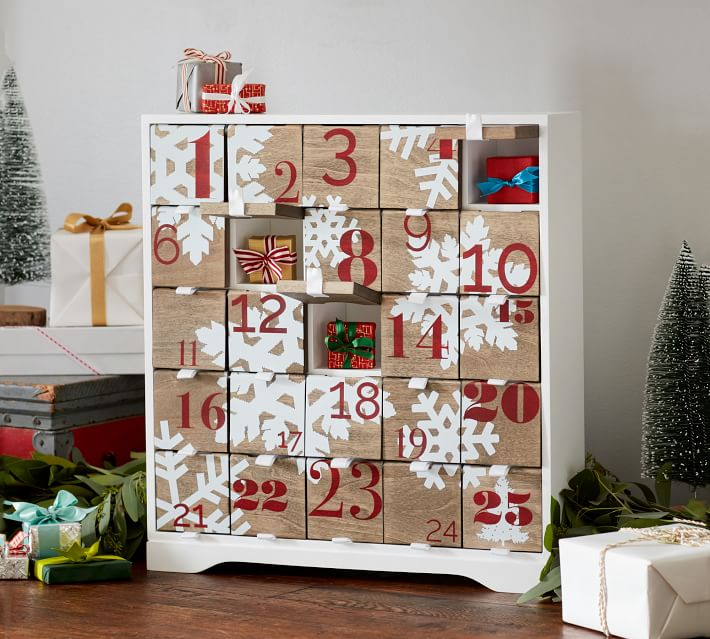 Snowflake designed wooden box advent calendar from Pottery Barn