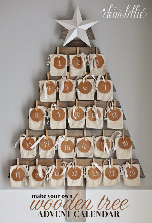 Wooden Christmas Advent Calendar Tree with burlap sacks and numbers