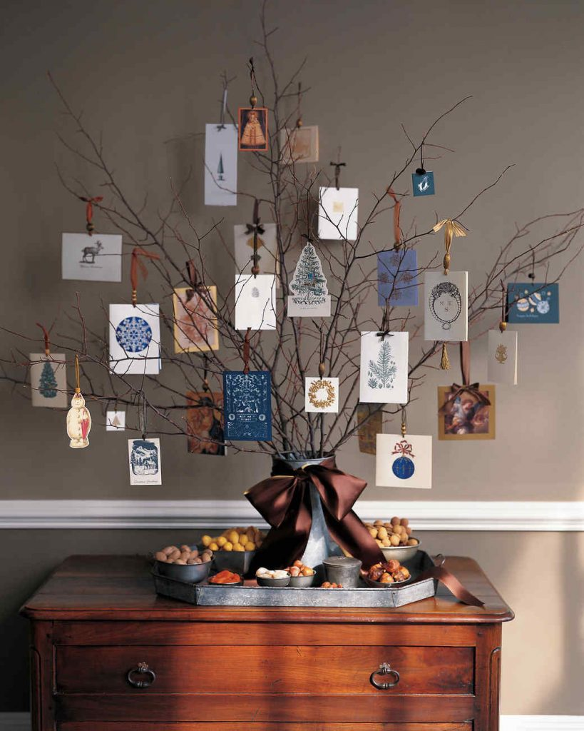 DIY Christmas cardhold display tree with cards decorating tree, hung with ribbons