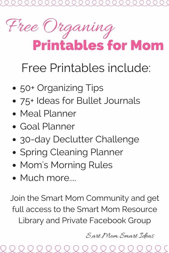 List of Free Organizing Printables for Mom including organizing tips, bullet journals, meal planners, goal planners, declutter challenge