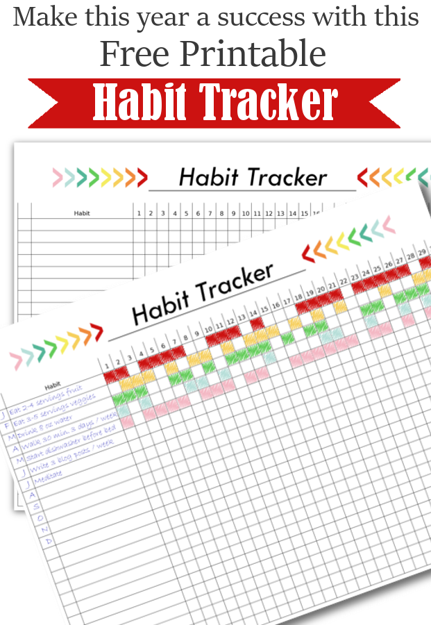 Habit Tracker Free Printable with boxes to monitor and organize changes you'd like to make