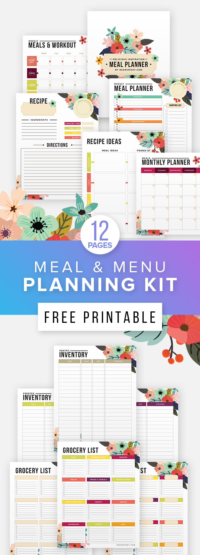 Spread of Menu and Meal Planning Free Printables Kit