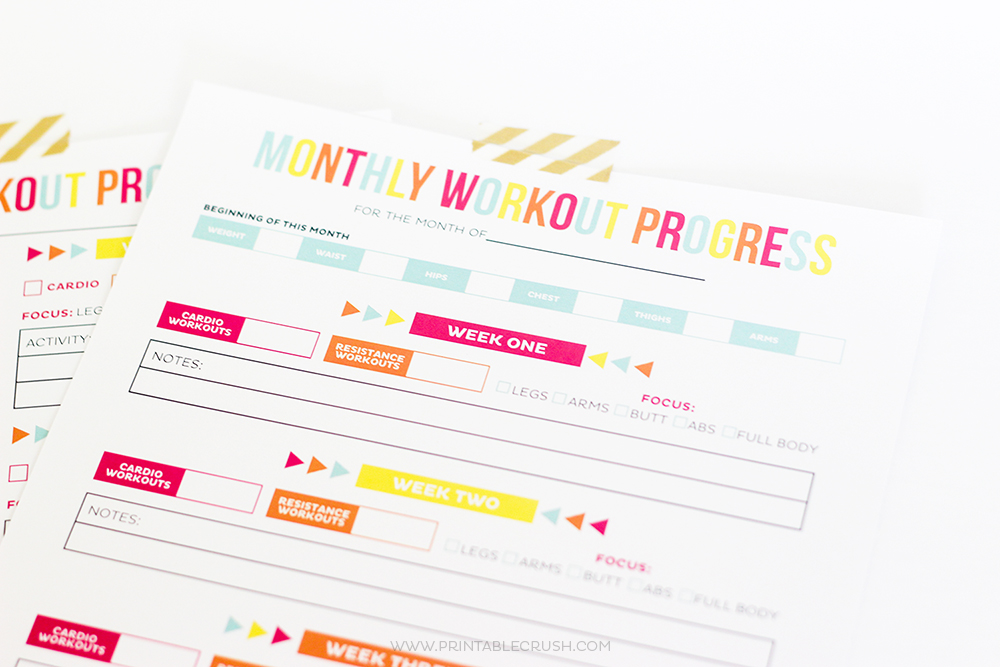 Workout and Exercise Progress and Free Printable sheets to organize fitness programs