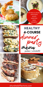 healthy 4 course dinner party menu collage with shrimp, potato soup, loaded baked potatoes, ribs and cinnamon rolls
