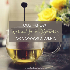 Tea pot for home remedies with roses in background Looking for a more natural means of treating common ailments in your household? There are other options besides over-the-counter medicines – and you probably have many in your house already. Learn about Natural Home Remedies for Common Ailments- top tips and tricks from crunchy moms!