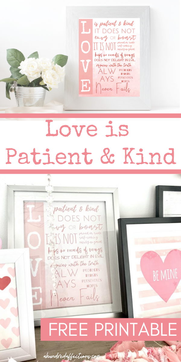 Love is patient and kind free printable, 2 images styled and framed for farmhouse Valentine's Day wall art