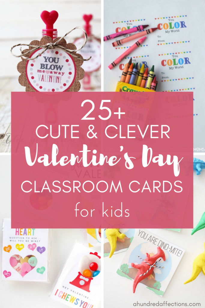 4 picture card collage with text - If you need some last-minute Valentine's Day cards for your child's classroom, check out these cute and clever cards! All have free printables with lots of different options - non-candy, boys, girls and more!